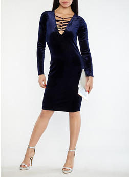 Velvet Metallic Caged Neck Dress - 1096058751851
