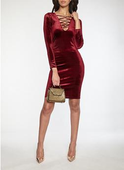 Velvet Metallic Caged Neck Dress - 1096058751851