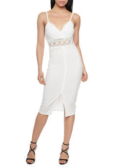 Sleeveless Bodycon Dress with Lace Cutout - IVORY - 1096058751987