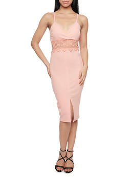 Sleeveless Bodycon Dress with Lace Cutout - 1096058751987