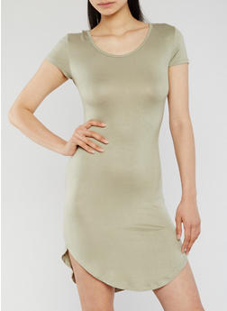 Solid T Shirt Dress with Corset Back - 1096058752003
