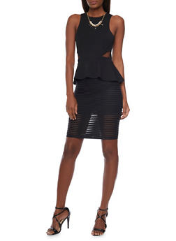Sleeveless Peplum Dress with Shadow Stripe Skirt and Cutout Details - BLACK - 1096058752004