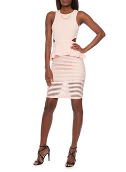 Sleeveless Peplum Dress with Shadow Stripe Skirt and Cutout Details - 1096058752004