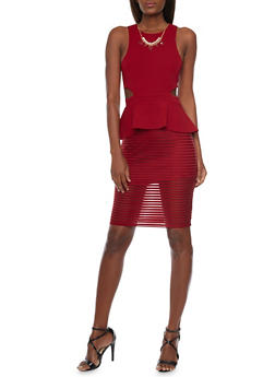 Sleeveless Peplum Dress with Shadow Stripe Skirt and Cutout Details - BURGUNDY - 1096058752004