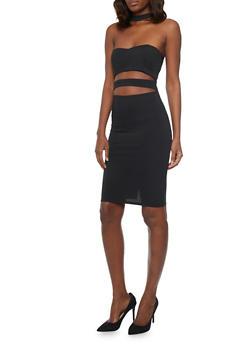 Strapless Choker Neck Bodycon Dress with Midriff Cutouts - BLACK - 1096058752070
