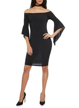 Off the Shoulder Mini Dress with Bell Sleeves - BLACK - 1096058752125