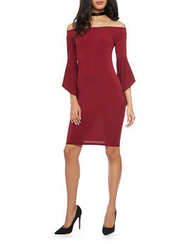 Off the Shoulder Mini Dress with Bell Sleeves - 1096058752125