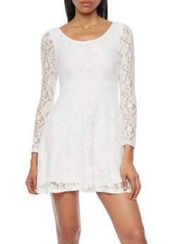 Lace Skater Dress with Long Sleeves - IVORY - 1096058752136