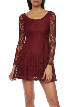 Lace Skater Dress with Long Sleeves - 1096058752136