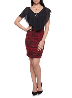 Bodycon Dress with Geometric Skirt and Necklace - 1096058752231