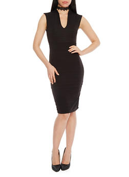 Bandage V Neck Mid Length Bodycon Dress - BLACK - 1096058752280