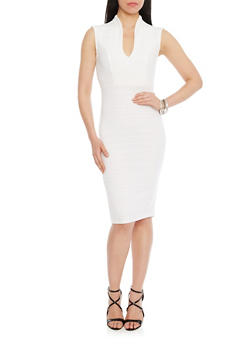 Bandage V Neck Mid Length Bodycon Dress - OFF WHITE - 1096058752280
