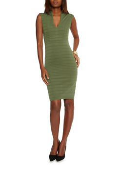 Bandage V Neck Mid Length Bodycon Dress - OLIVE - 1096058752280
