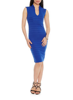 Bandage V Neck Mid Length Bodycon Dress - 1096058752280