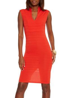 Bandage V Neck Mid Length Bodycon Dress - 1096058752280