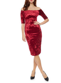 Off the Shoulder Midi Dress in Crushed Velvet - BURGUNDY - 1096058752295