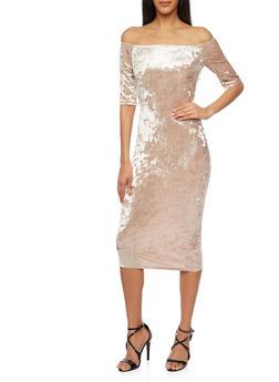 Off the Shoulder Midi Dress in Crushed Velvet - 1096058752295