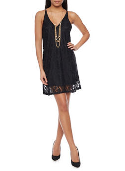 Lace Spaghetti Strap Dress with Necklace - BLACK - 1096058752300