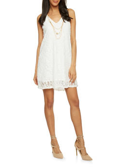 Lace Spaghetti Strap Dress with Necklace - IVORY - 1096058752300
