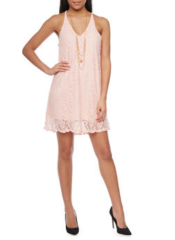 Lace Spaghetti Strap Dress with Necklace - PINK - 1096058752300