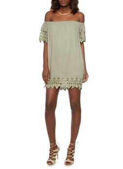 Off The Shoulder Shift Dress with Crochet Trim - 1096058752385