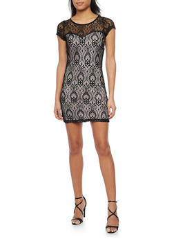Short Length Lace Bodycon Dress - 1096058752682