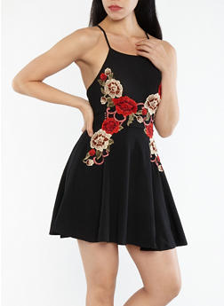 Crepe Knit Floral Applique Skater Dress - 1096058753106