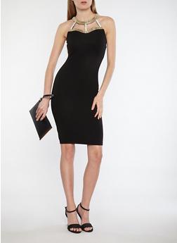 Sleeveless Bodycon Dress with Jeweled Neckline - BLACK - 1096058753348