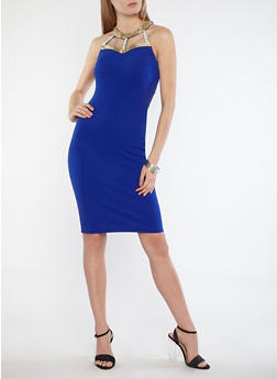 Sleeveless Bodycon Dress with Jeweled Neckline - 1096058753348