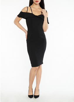 Crepe Knit Off the Shoulder Bodycon Dress - 1096058753496