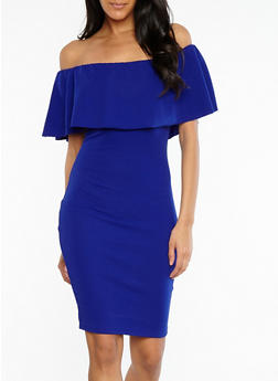 Crepe Knit Off the Shoulder Bodycon Dress - 1096058753505
