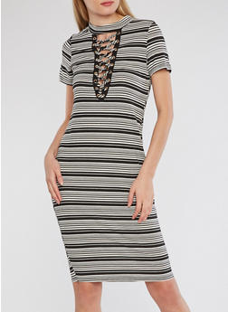 Ribbed Knit Striped Lace Up Dress - 1096058753534