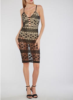 Mid Length Sheer Lace Dress with Nude Bodysuit - 1096058753541