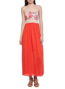 Strapless Sweetheart Maxi Dress with Floral Bodice - 1096058755551
