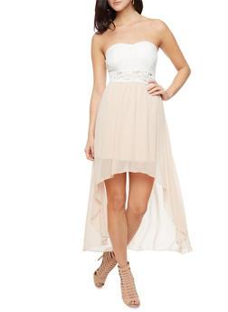 Sleeveless High-Low Chiffon Dress With Sparkling Yoke and Lace Bodice,IVORY,medium