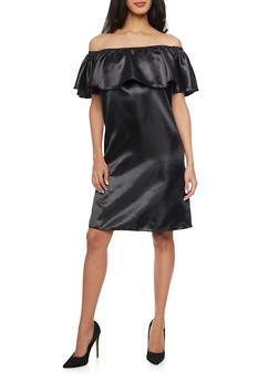Off the Shoulder Satin Dress with Ruffled Neckline - BLACK - 1096058930118
