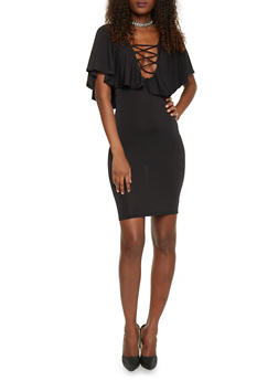 Caged V Neck Bodycon Dress with Ruffled Overlay - BLACK - 1096058930121