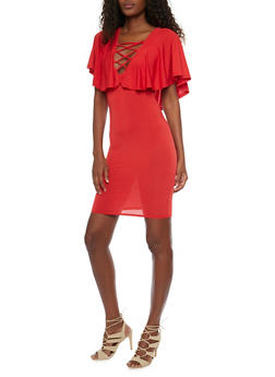 Caged V Neck Bodycon Dress with Ruffled Overlay - 1096058930121