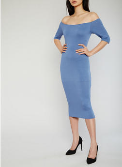 Off the Shoulder Crepe Knit Bodycon Dress - 1096058930131