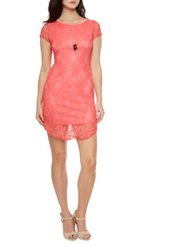 Lace Mini Dress with Necklace - 1096058934008