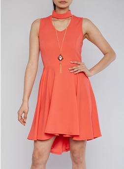 High Low Skater Dress with Keyhole and Necklace - 1096058935236