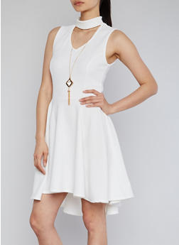 High Low Skater Dress with Keyhole and Necklace - IVORY - 1096058935236