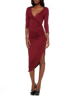 Surplice Midi Dress with Zipper Trim and Asymmetrical Hem,BURGUNDY,medium