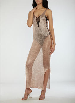 Sheer Metallic Mesh Maxi Dress - 1096062123018