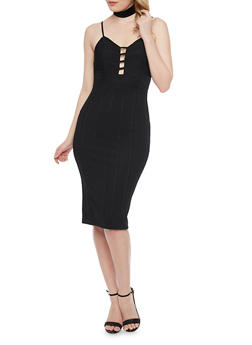 Ribbed Spaghetti Strap Bodycon Dress - BLACK - 1096069390120