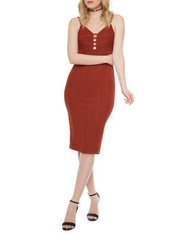 Ribbed Spaghetti Strap Bodycon Dress - 1096069390120