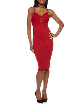 Ribbed Spaghetti Strap Bodycon Dress - 1096069390120