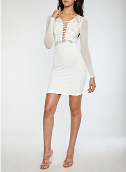 Long Sleeve Bodycon Dress with Lace and Mesh Detail - 1096069390355
