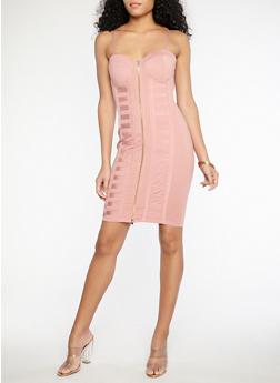 Zip Front Bodycon Dress - 1096069390364
