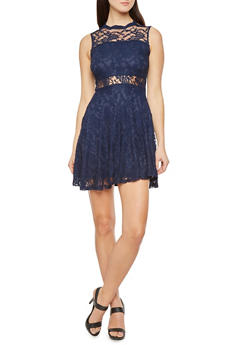 Lace Skater Dress with Sheer Panels - 1096069392154
